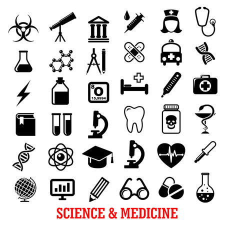 syringe: Science and medicine flat icons with ambulance, hospital, test tube, doctor, microscope, book, pills, dna, atom, flask, stethoscope, syringe, heart, cardiology, drugs, tooth, glass, globe and telescope