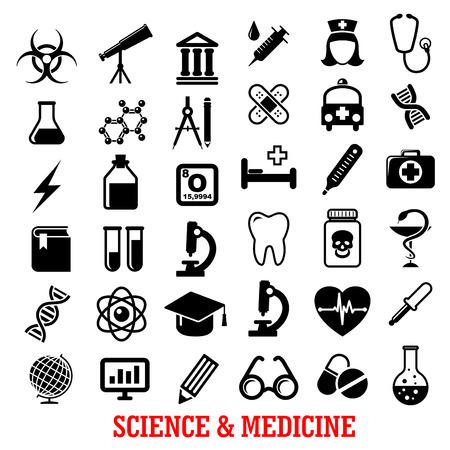 Wetenschap en geneeskunde vlakke pictogrammen met ambulance, ziekenhuis, reageerbuis, arts, microscoop, boek, pillen, dna, atoom, fles, stethoscoop, spuit, hart, cardiologie, drugs, tand, glas, wereldbol en telescoop Vector Illustratie