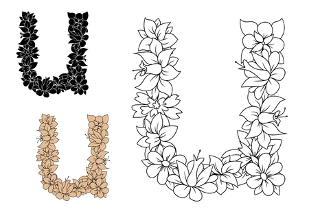 colorless: Decorative alphabet letter u in lowercase font with vintage floral pattern in colorless outline, black and brown variations