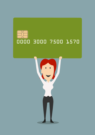bank manager: Cheerful cartoon businesswoman holding a large credit card above head. Banking service, credit or finance design