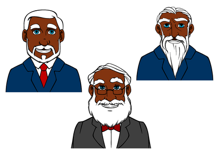 retire: Smiling cartoon old african american men characters with gr hair and beards in elegant suits