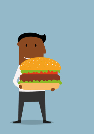 african americans: Happy cartoon african american businessman carrying a huge hamburger with beef and fresh vegetables. Fast food or business lunch concept design