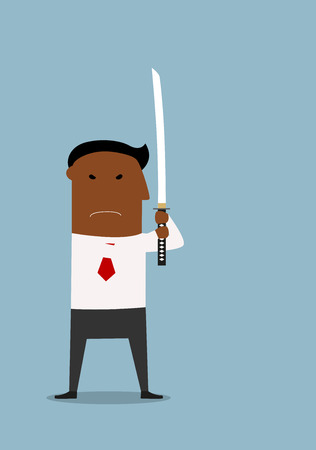 defensive: Serious cartoon black businessman standing with sword in defensive position. Meditation or power concept usage