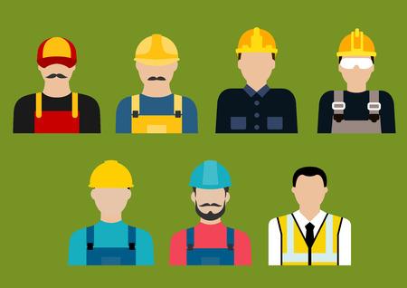 La construcción y la industria de servicios profesiones iconos planos o avatares con los constructores, ingeniero, arquitecto, electricista, fontanero, carpintero y albañil en uniforme Ilustración de vector