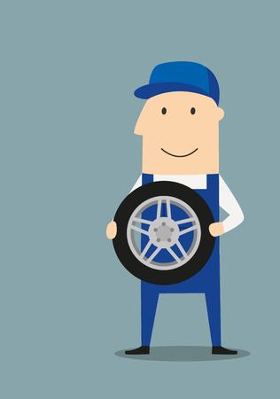 obrero caricatura: mec�nico de servicio coche de dibujos animados con un mono azul y una gorra que sujetan la rueda. Buen concepto de servicio