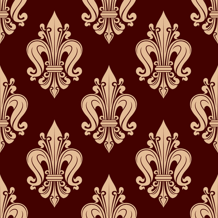 monarchy: French fleur-de-lis seamless pattern with floral motif of stylized beige flowers with curled petals over red background. Wallpaper and interior usage
