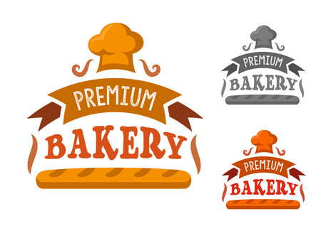 french bakery: Bakery shop sign with fresh french baguette framed by ribbon banner with text and toque on the top. In orange, red and gray variations Illustration