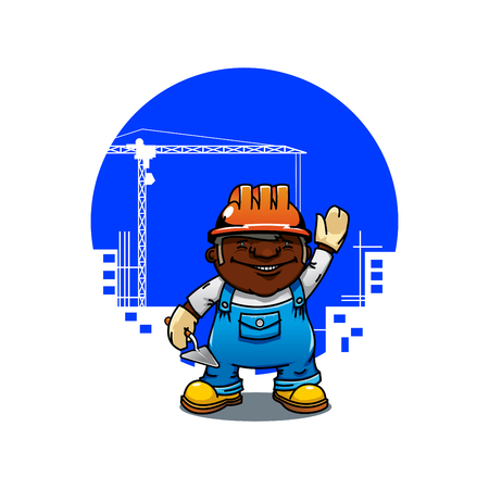 cartoon builder: Friendly cartoon african american bricklayer or builder in orange hard hat standing with trowel. Construction industry  concept