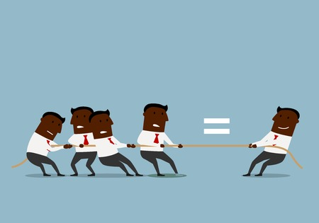 equivalent: Cartoon confident black businessman is equal with a group of businessmen, in tug of war. Business challenge or human resources concept design