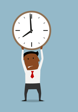 overwork: Exhausted cartoon african american businessman holding clock above head. Deadline pressure or timeout design