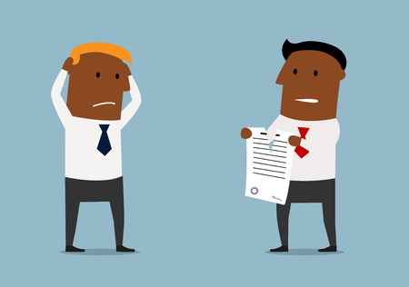 legal contract: Cartoon angry black businessman tearing apart a contract in front of his business partner, for contract or agreement determination concept design