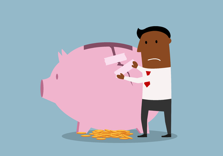economic recovery: Cartoon african american businessman repairing damaged piggy bank to protect savings. Finance recovery theme design