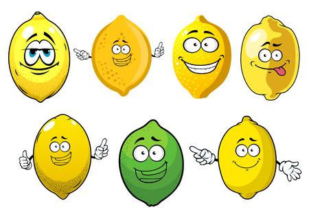 limon caricatura: jugosos limones amarillos frescos y frutos de lim�n verde personajes de dibujos animados con las caras felices. Aislados en, blanco estilo de dibujos animados Vectores
