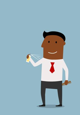 aftershave: Happy cartoon businessman in shirt using a deodorant for body care. Hygiene theme concept