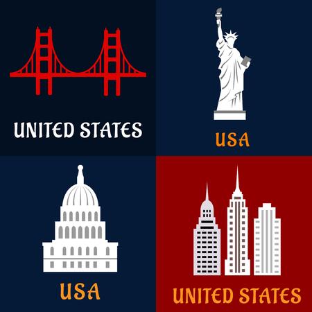 monumento: Hitos de iconos planos USA con la estatua de la Libertad, el puente Golden Gate, los rascacielos y el edificio del Capitolio de gobierno. Para el diseño de los viajes
