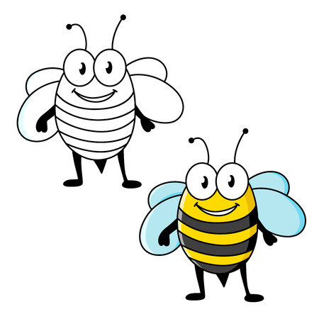 Cartoon funny black and yellow striped bee insect character with happy smile. Mascot or fairytale design