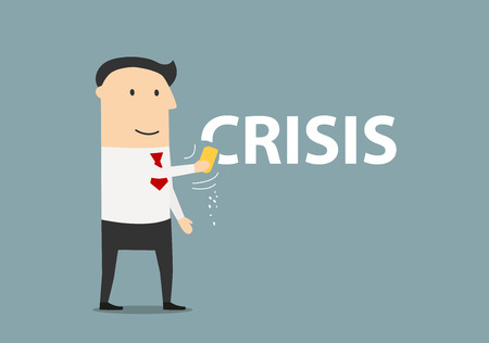 crisis management: Successful and happy cartoon businessman wiping off the word Crisis by a sponge. Crisis management theme design