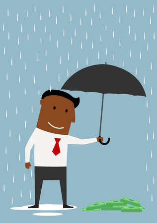 african business: African american cartoon businessman holding open umbrella over pile of dollar bundles. Bank insurance concept
