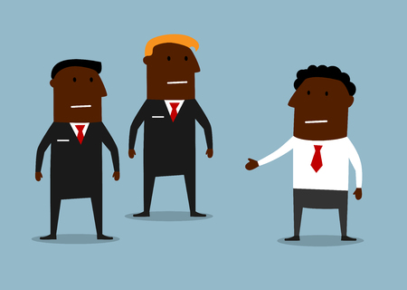 carefree: Cartoon powerful bodyguards in black suits guarding a carefree businessman. Business security concept Illustration