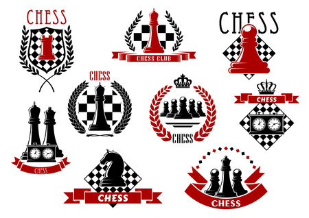 Chess icons with red and black kings, queens, rook, knight, pawns chessman and clocks on chessboard and checkered shield. Adorned by laurel wreaths, ribbon banners and crowns