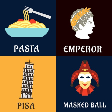 italy culture: Landmarks, history, culture and national cuisine of Italy. Pasta, Pisa tower, costume and Caesar icons for travel or vacation design