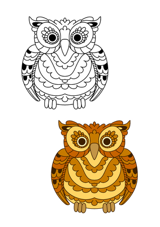 Brown and yellow forest owl with decorative spotted feathers. Cartoon colorful and outline style. Education, Halloween or wildlife theme Illustration