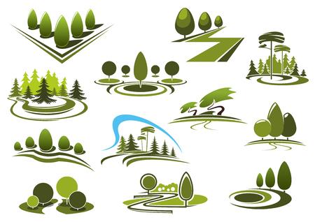 paisajes: parque verde de verano, forestal y paisajística jardín iconos. Con árboles decorativos y arbustos, callejones y senderos para caminar, prados de hierba y césped pacíficos figurados Vectores
