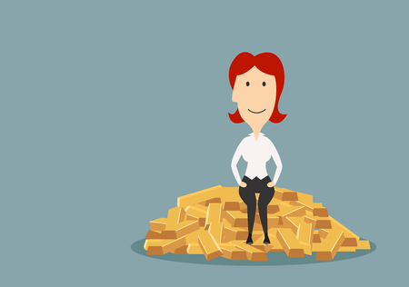 wealth concept: Happy rich cartoon redhead businesswoman sitting on a big pile of gold bars. Wealth or financial success concept theme