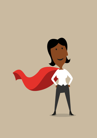 african business: Cartoon confident hero african american businesswoman wearing red cape, ready to business achievement Illustration