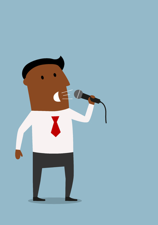 convincing: Convincing cartoon african american businessman with microphone on presentation. Business meeting,  presentation or conference themes design Illustration