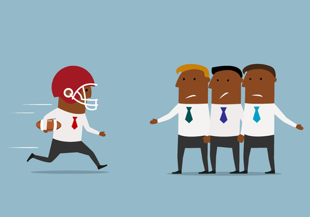 Fast cartoon businessman in rugby helmet with ball rushes to the goal through defense of his opponents. Business confrontation or achievement concept design