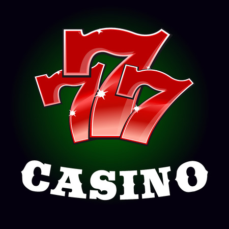 gambling game: Casino jackpot icon with sparkling red triple seven lucky number. Gambling industry or winner concept