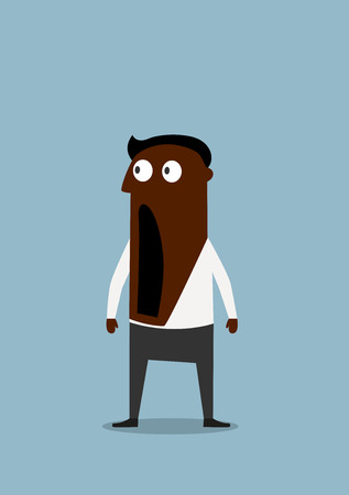 eyes wide open: Shocked or scared cartoon african american businessman standing with wide open mouth and googly eyes. Negative emotion expression or omg concept Illustration