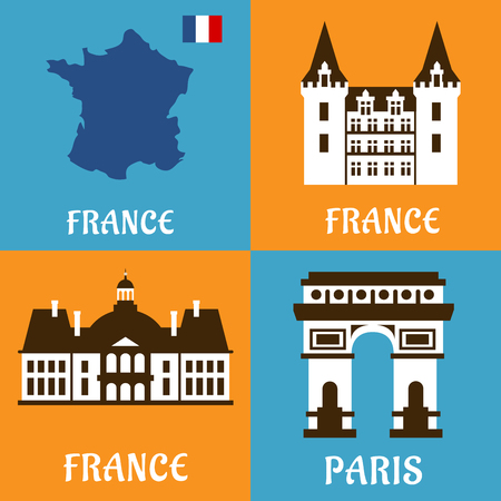 house icon: French landmarks flat icons with national map and flag, triumphal arch, palace and castle. Travel usage set