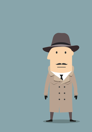 secret agent: Cartoon mysterious spy, secret agent or detective in trench coat, felt hat and black gloves