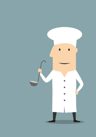 cooking utensils: Cartoon cooking chef in white uniform tunic and toque standing with large ladle in hand. For restaurant or food service concept usage