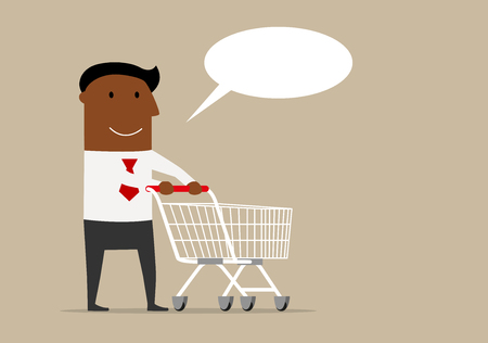 pushcart: Happy cartoon black businessman with shopping cart and blank speech bubble above. Retail and commerce theme design