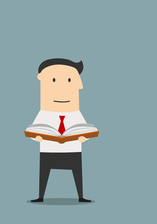book concept: Cartoon businessman reading a book for find a new ideas. Business education, professional or personal development concept Illustration