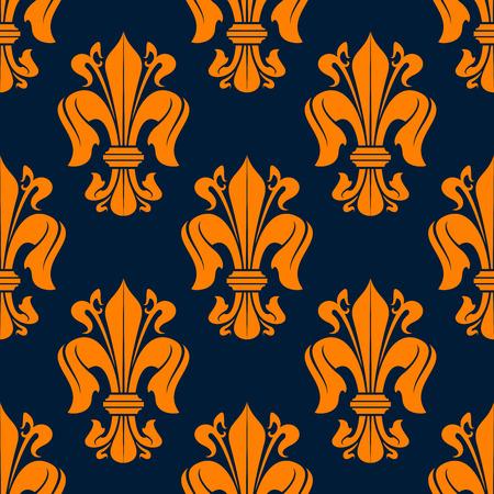 Royal fleur-de-lis floral seamless pattern with orange lily flowers on blue background. Luxury wallpaper or tile usage design