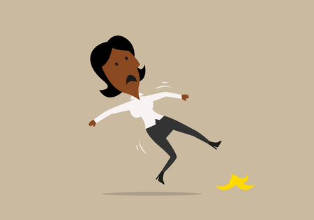 cartoon accident: Confused cartoon african american businesswoman slipped on a banana peel. Accident or business failure themes design