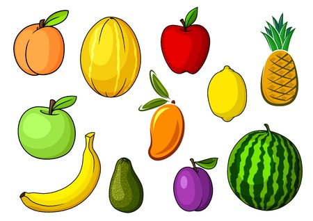 banana caricatura: Granja manzanas rojas y verdes frescas, melocot�n, aguacate, pl�tano amarillo, pi�a, sand�a, lim�n, mango naranja, mel�n y frutas del ciruelo p�rpura. De Agricultura y Alimentaci�n temas