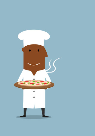 cheese cartoon: Cartoon smiling african american chef in white cook toque carrying hot vegetarian pizza with mozzarella and tomato Illustration
