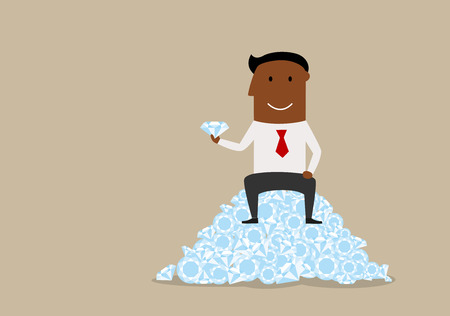brilliant: Cartoon wealthy black businessman sitting on heap of precious stones with large diamond in hand