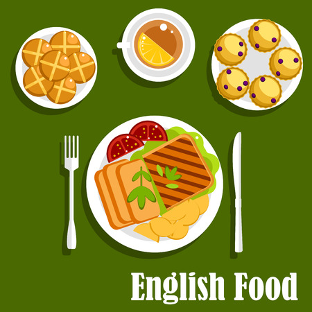 grill: Traditional lunch of english cuisine with roast beef, roast potato, grilled toast and tomatoes, cup of tea with lemon, scones with currants and hot cross buns. Flat design
