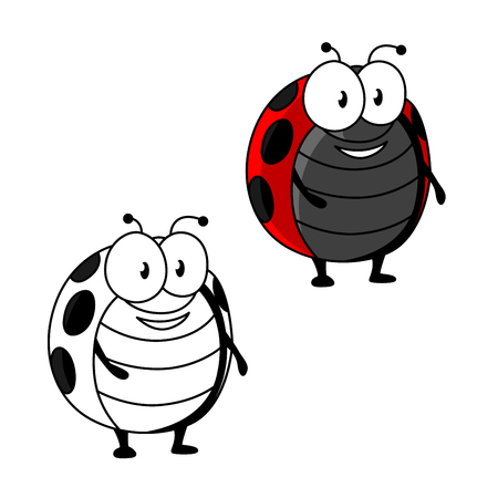 critters: Cartoon red ladybird or ladybug insect character with black spots on wing covers Illustration