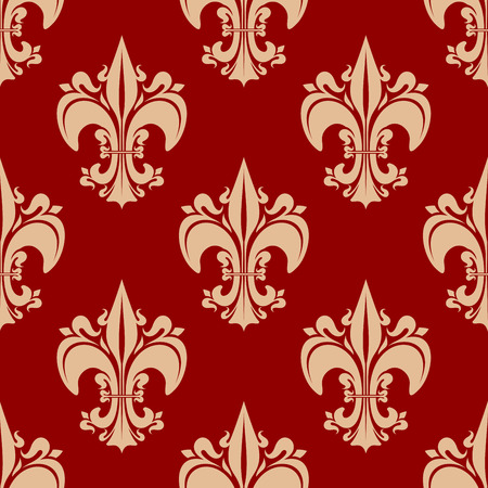 victorian wallpaper: Beige victorian fleur-de-lis floral seamless pattern with decorative pointed leaves, flourishes on red background, for vintage textile or wallpaper design