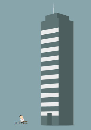 tall building: Cartoon businessman carrying a ladder to the tall building of business center. May be use in business concept such as long way to success, professional growth or career improvement