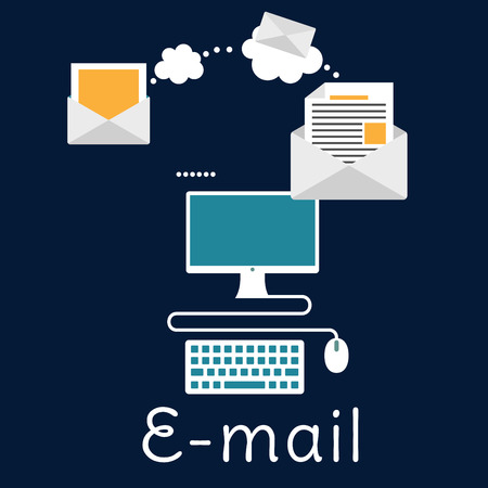 mail: Sending and receiving e-mail by desktop computer with envelopes, monitor and keyboard. E-mail, marketing or mailing concept, flat style