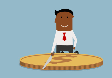 corrupt: Cartoon corrupt african american businessman cutting a big dollar coin with knife. Business corruption theme design Illustration