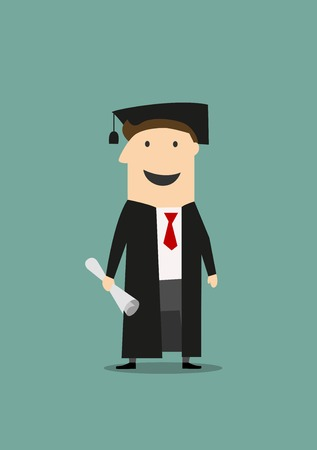 graduation gown: Cartoon happy student standing in black graduation gown and hat with diploma in hand. Education or graduation themes design Illustration